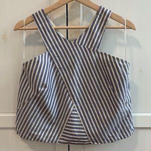 Zara sleeveless v neck striped crop top medium